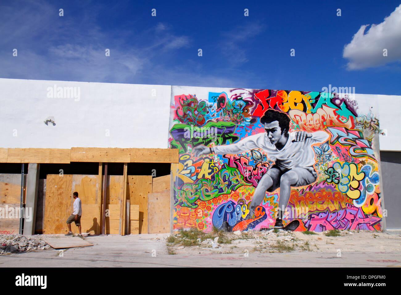 Miami Florida Wynwood Art District mural building - Stock Image