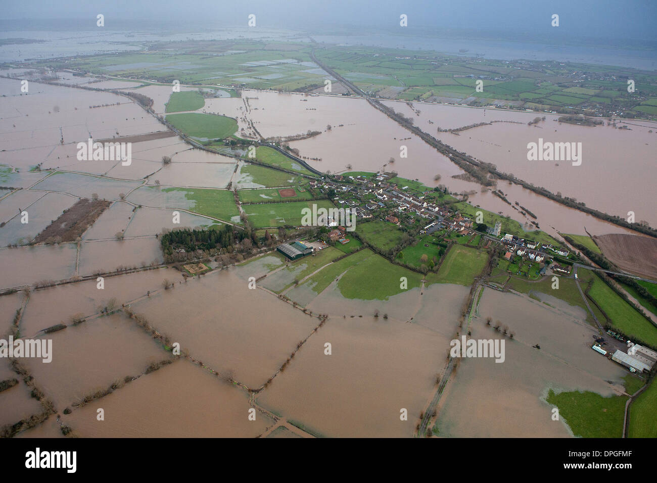 An aerial view of a small village between Taunton and Yeovil on the Somerset Levels - Stock Image