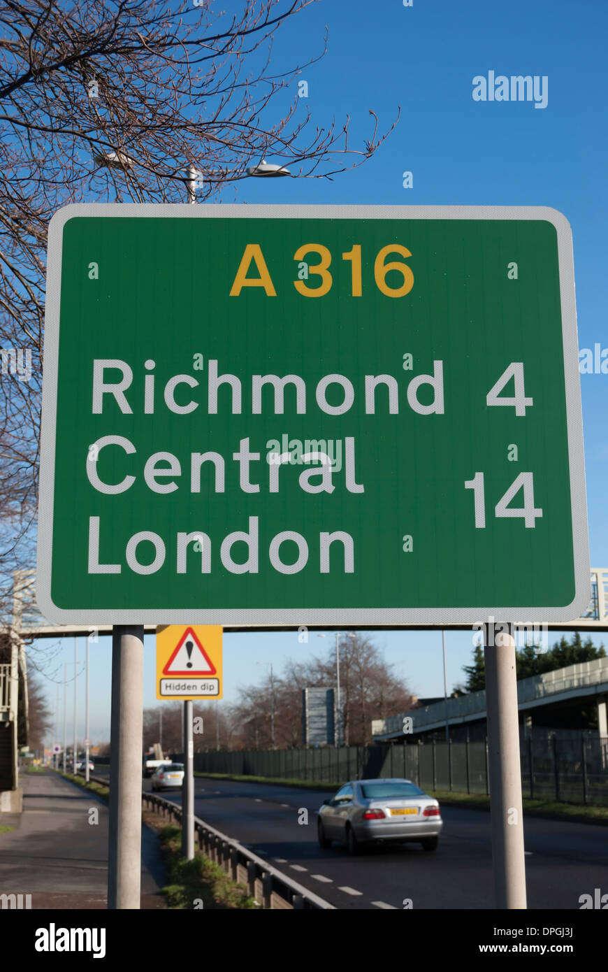 british road sign on the a316 giving distances to richmond and central london - Stock Image