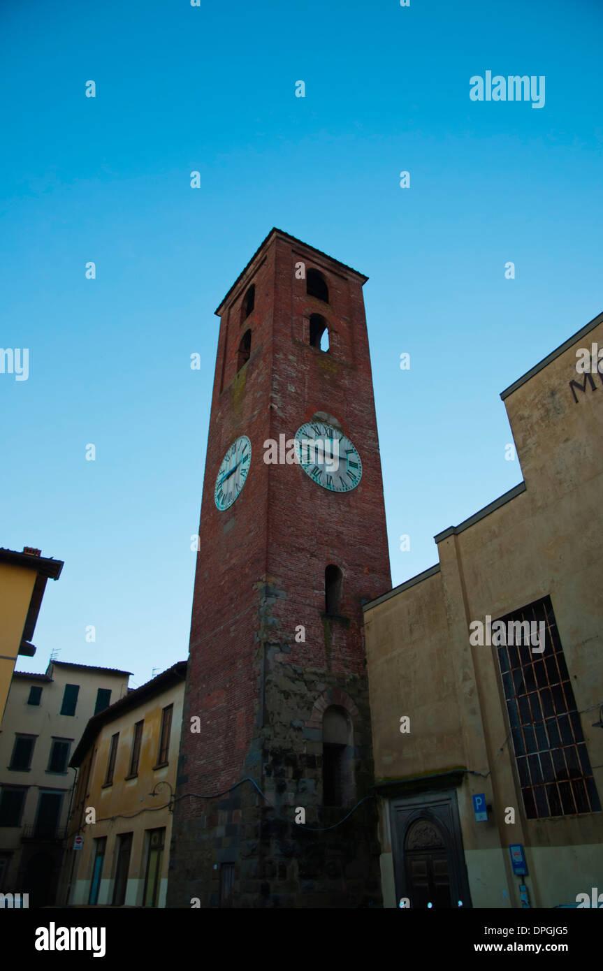 Torre Pressato il Mercato tower at Piazza Carmine square, Lucca city Tuscany region Italy Europe Stock Photo