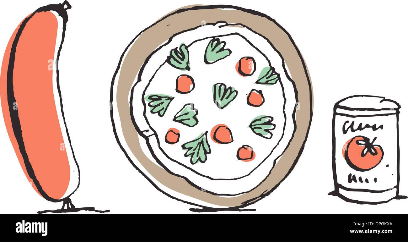 Italian sausage and pizza - Stock Image