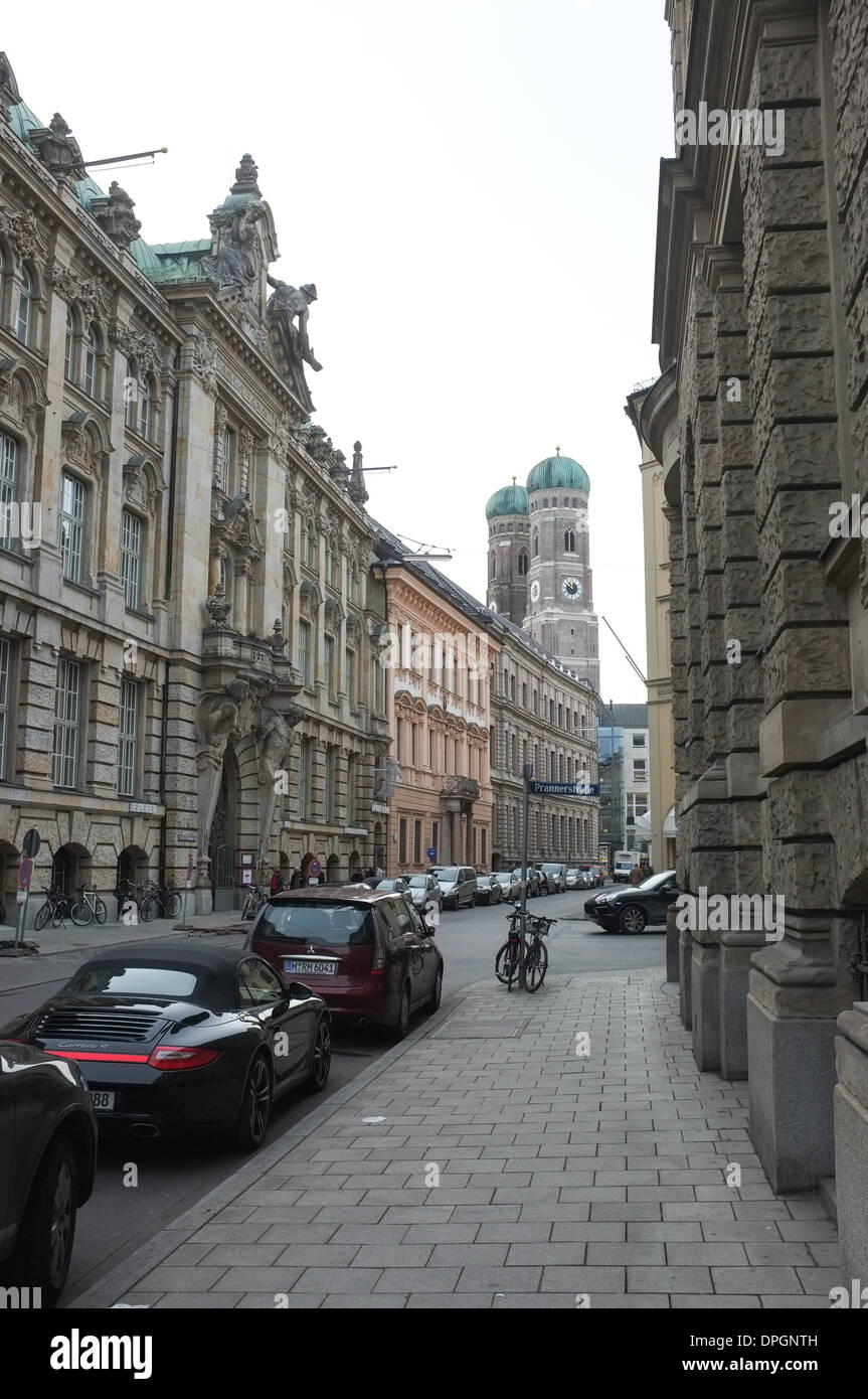 View of the Kardinal-Faulhaber-Street in Munich in December 2013. Stock Photo