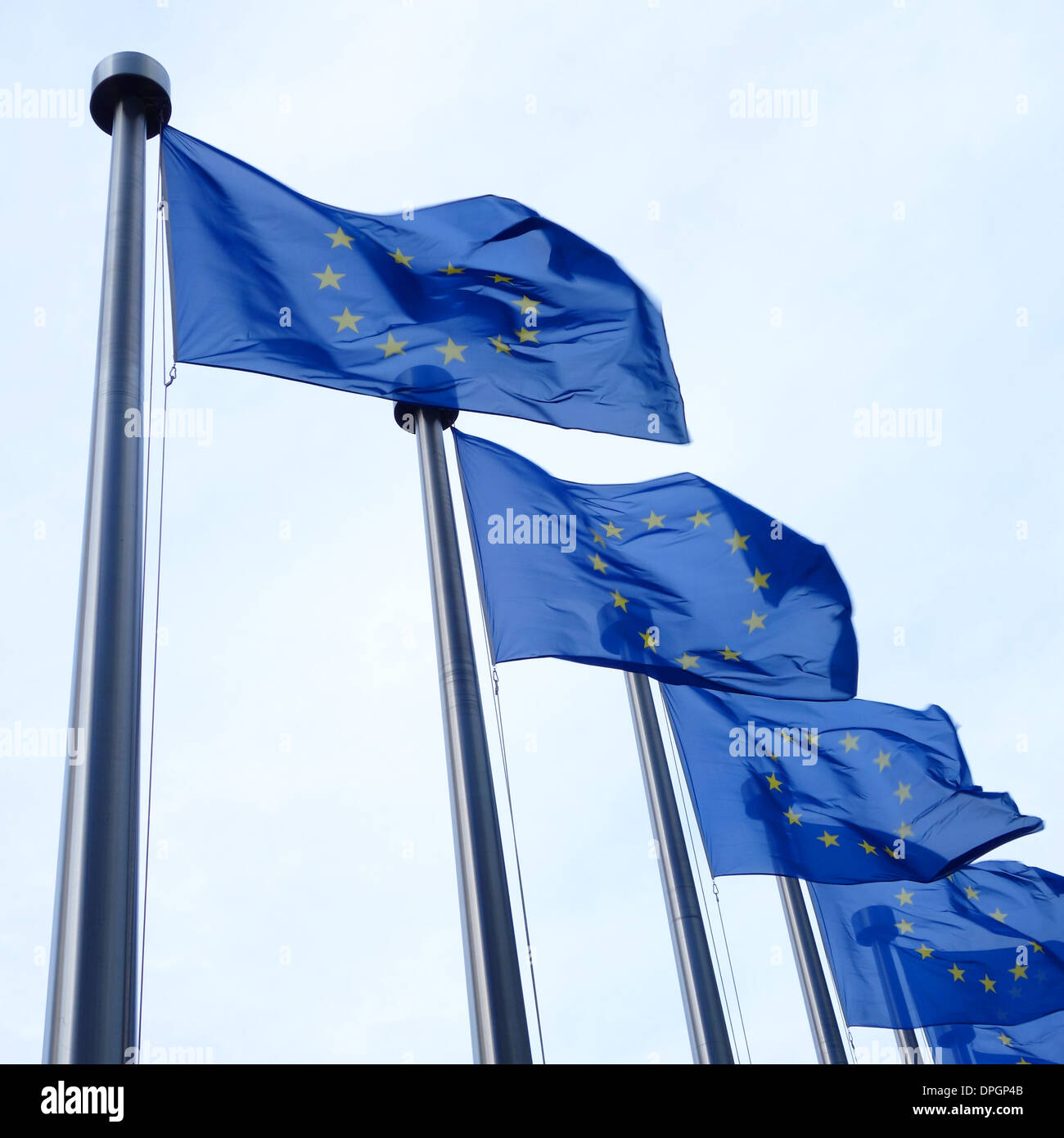 EU flags flying, in front of the European Commission buildings in Brussels, Belgium. - Stock Image