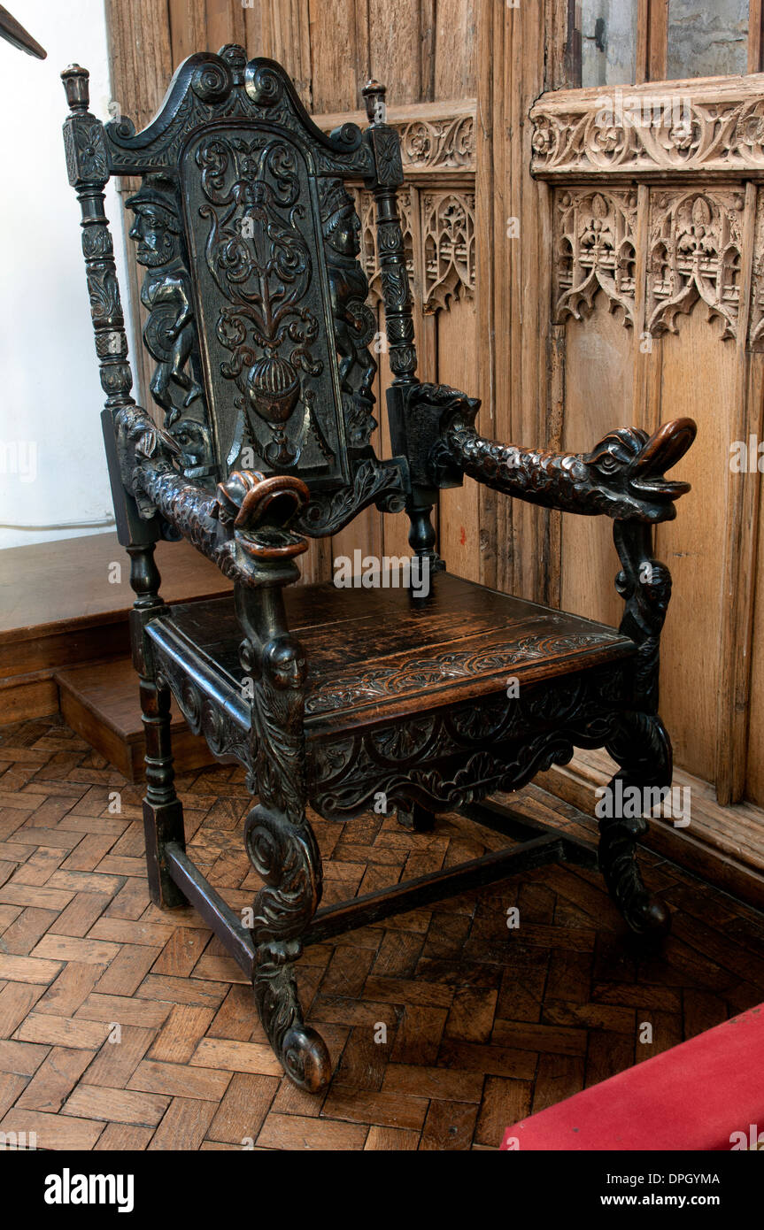 Jacobean chair, St. Mary`s Church, Redbourn, Hertfordshire, England, UK Stock Photo