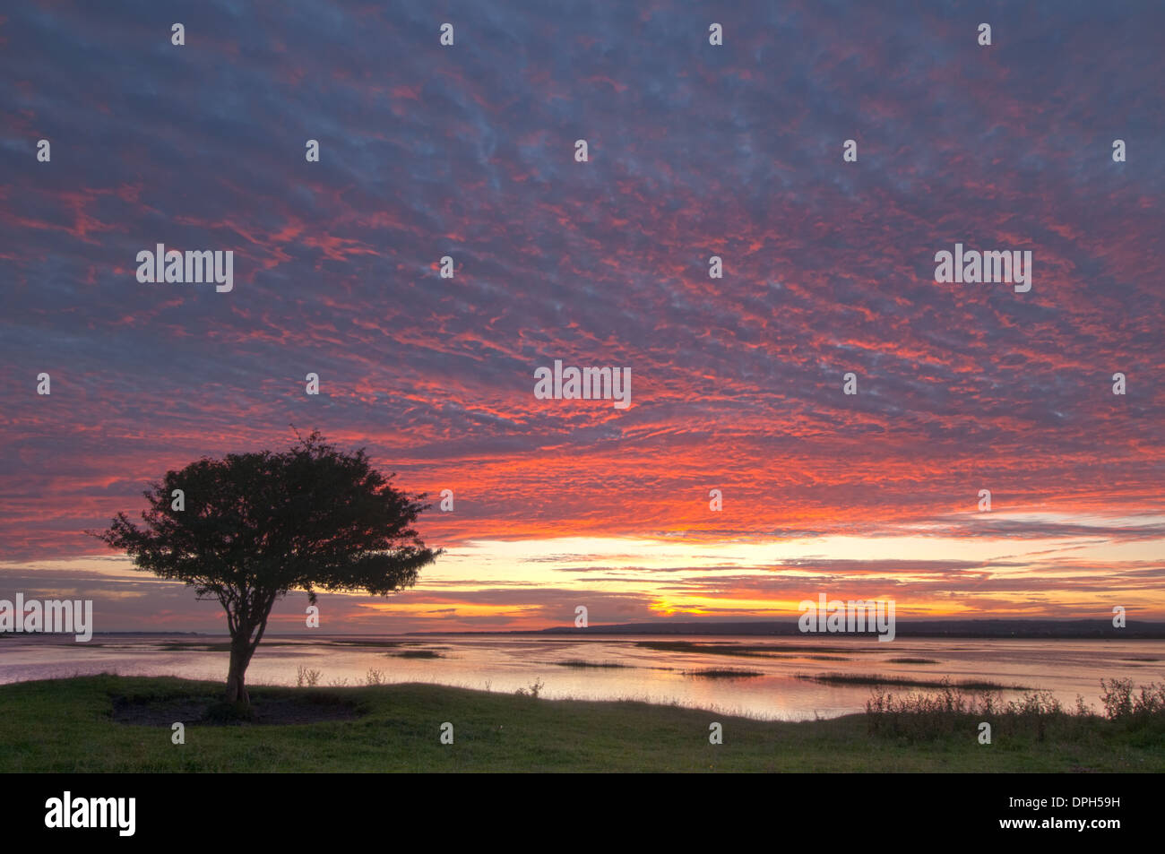 Sunset at Penclawdd, north Gower Stock Photo