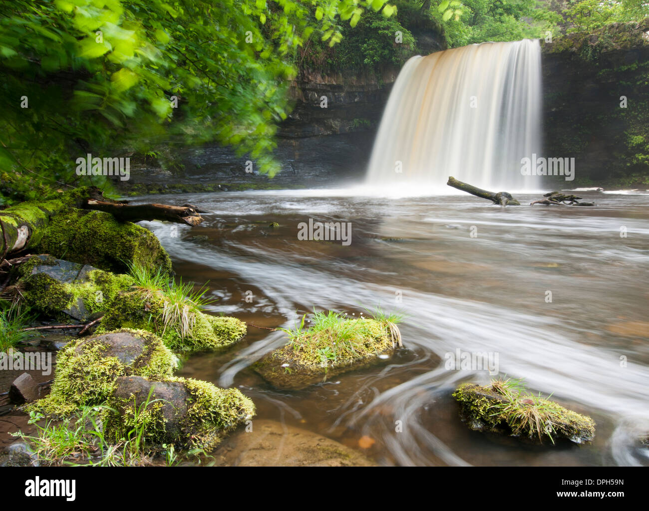 Long exposure shot of Sgwd Gwladys Stock Photo