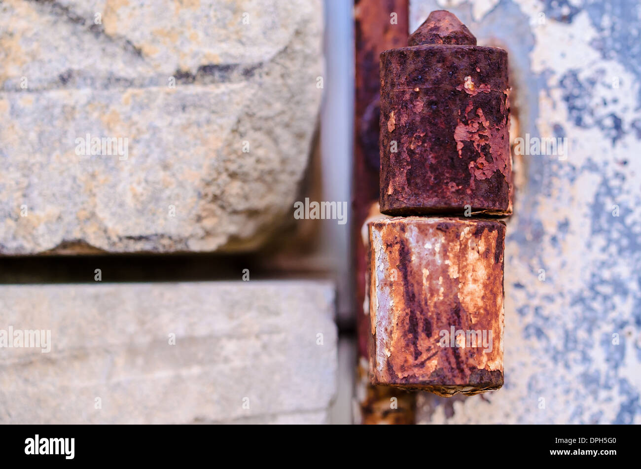 the rusted hinge - Stock Image