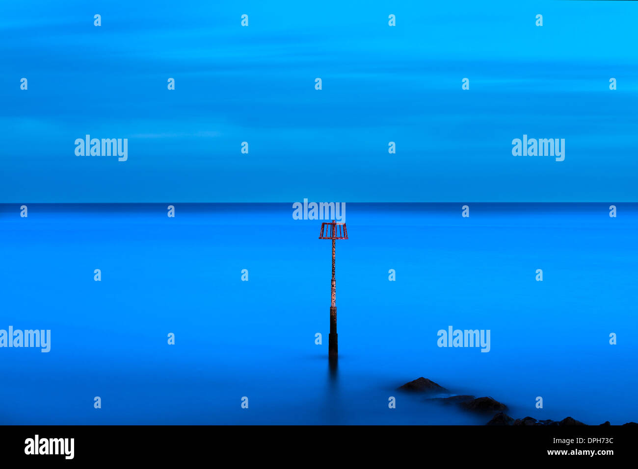 Night seascape, Amroth, Pembrokeshire Stock Photo