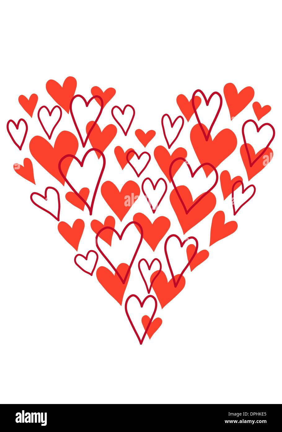 hand drawn scribble heart, vector illustration - Stock Image