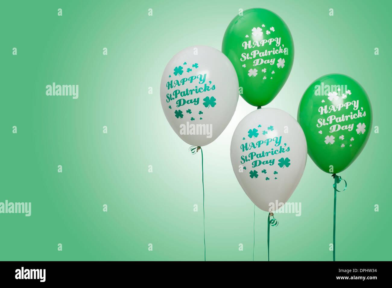 Balloons for celebrating St Patrick's Day - Stock Image