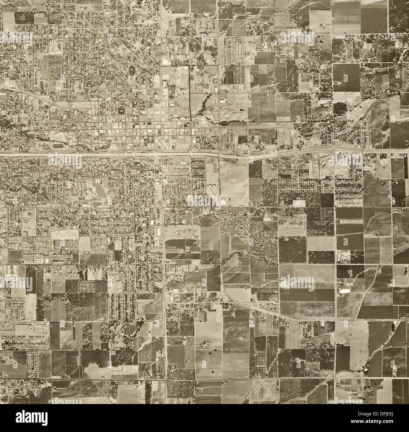 historical aerial photograph Visalia, Tulare county, California, 1969 - Stock Image