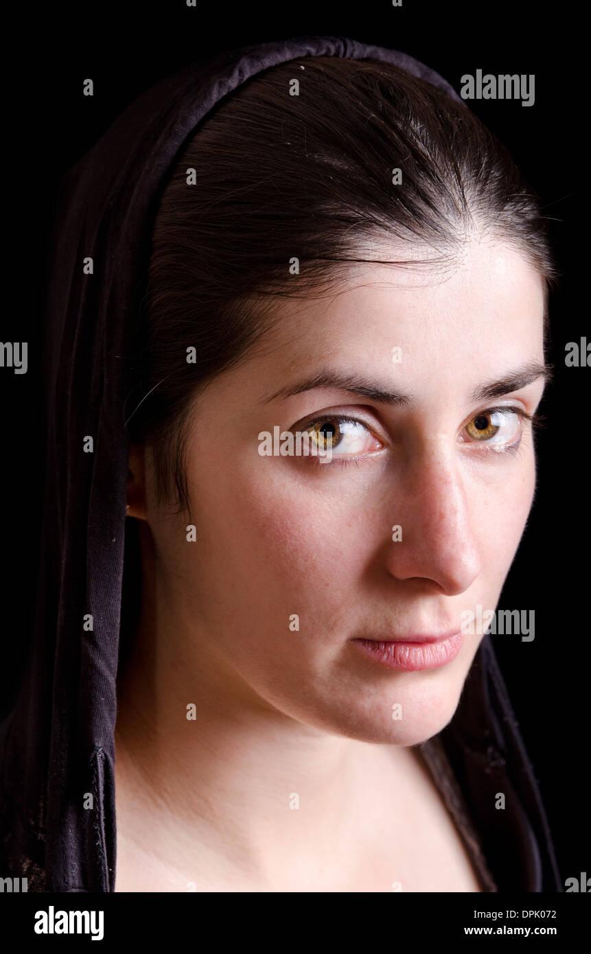 Green eyes woman portait - Stock Image