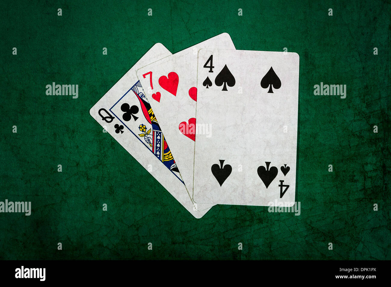 Twenty One 7. Closeup view of playing cards forming the blackjack combination of twenty one points. - Stock Image