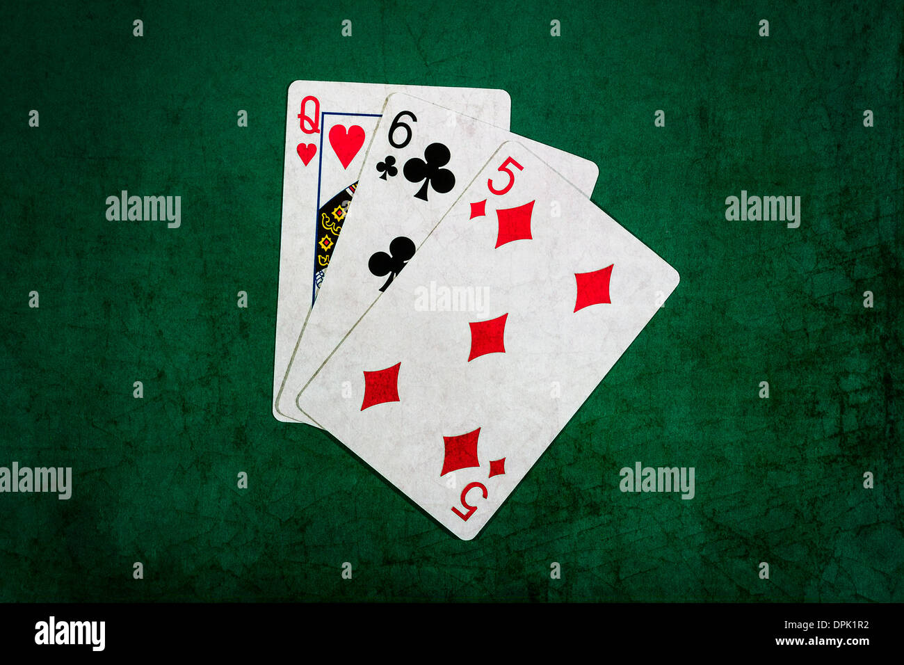 Blackjack combination of twenty one scores. Queen, six and five, - Stock Image