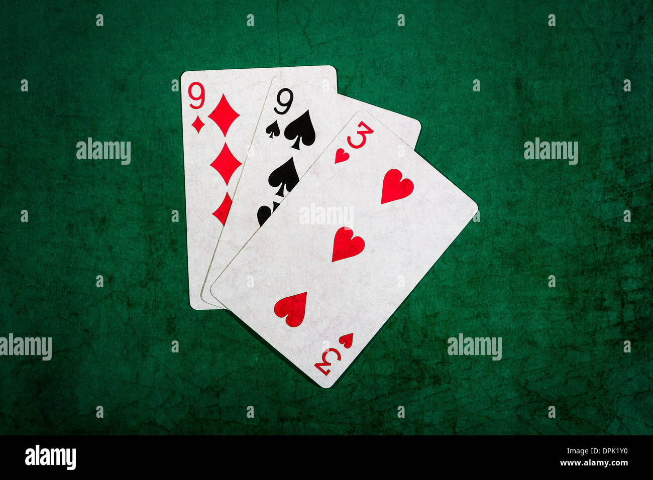 Twenty One 10. Closeup view of playing cards forming the blackjack combination of twenty one points - Stock Image