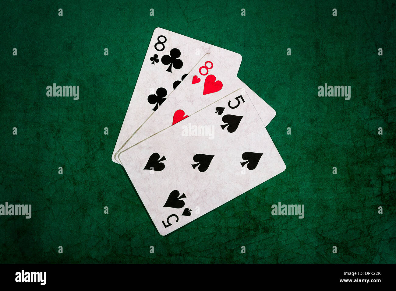 Twenty One 11. Closeup view of playing cards forming the blackjack combination of twenty one points - Stock Image