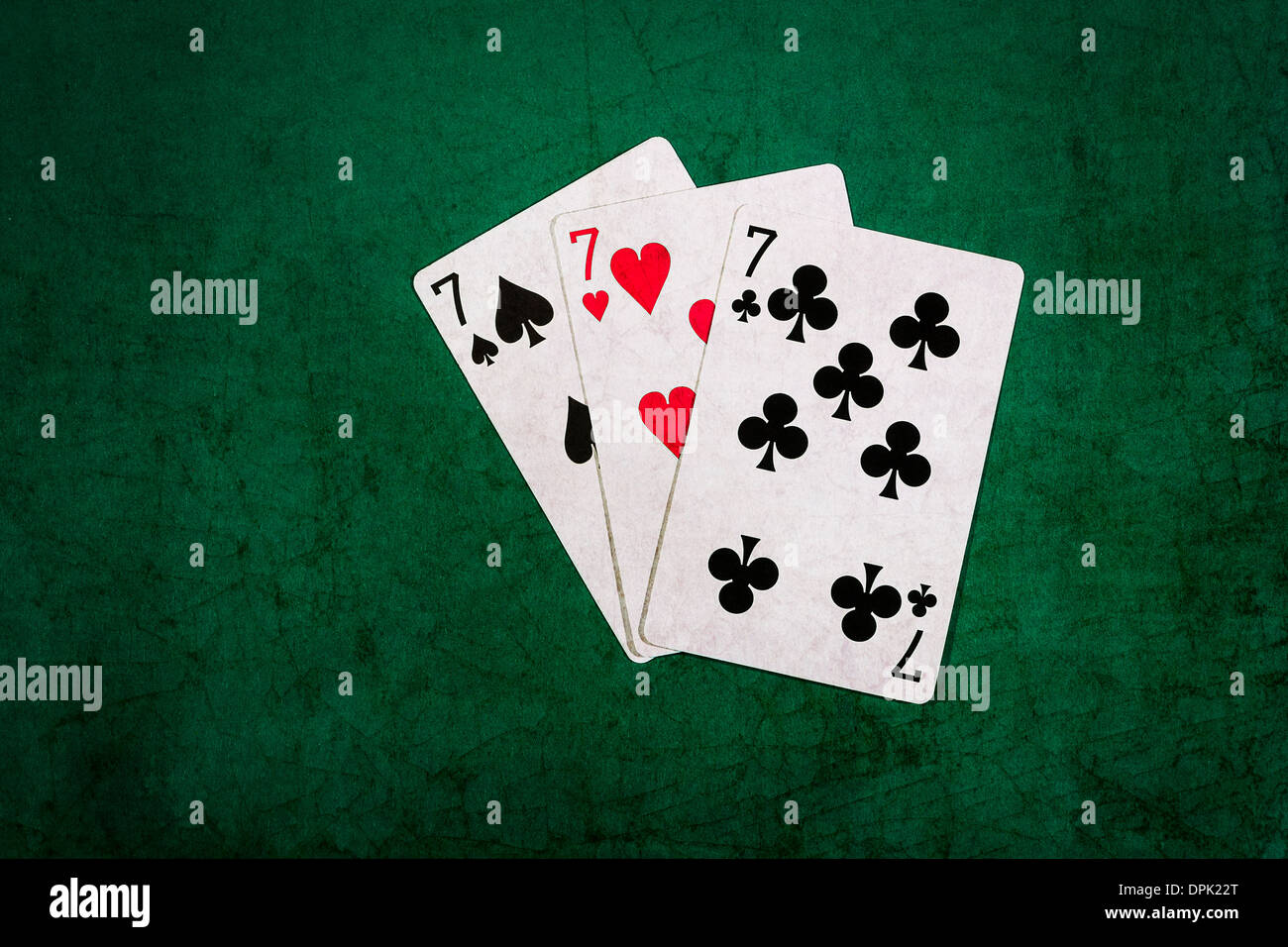 Twenty One 12. Closeup view of playing cards forming the blackjack combination of twenty one points - Stock Image
