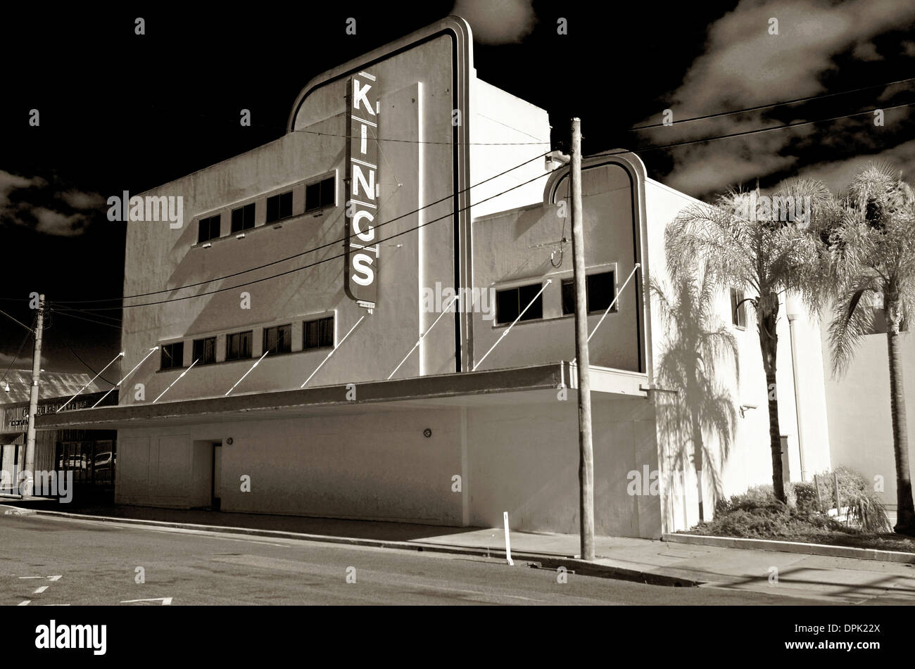 infra red  black and white photograph of the old Kings cinema in warwick, queensland, australia - Stock Image
