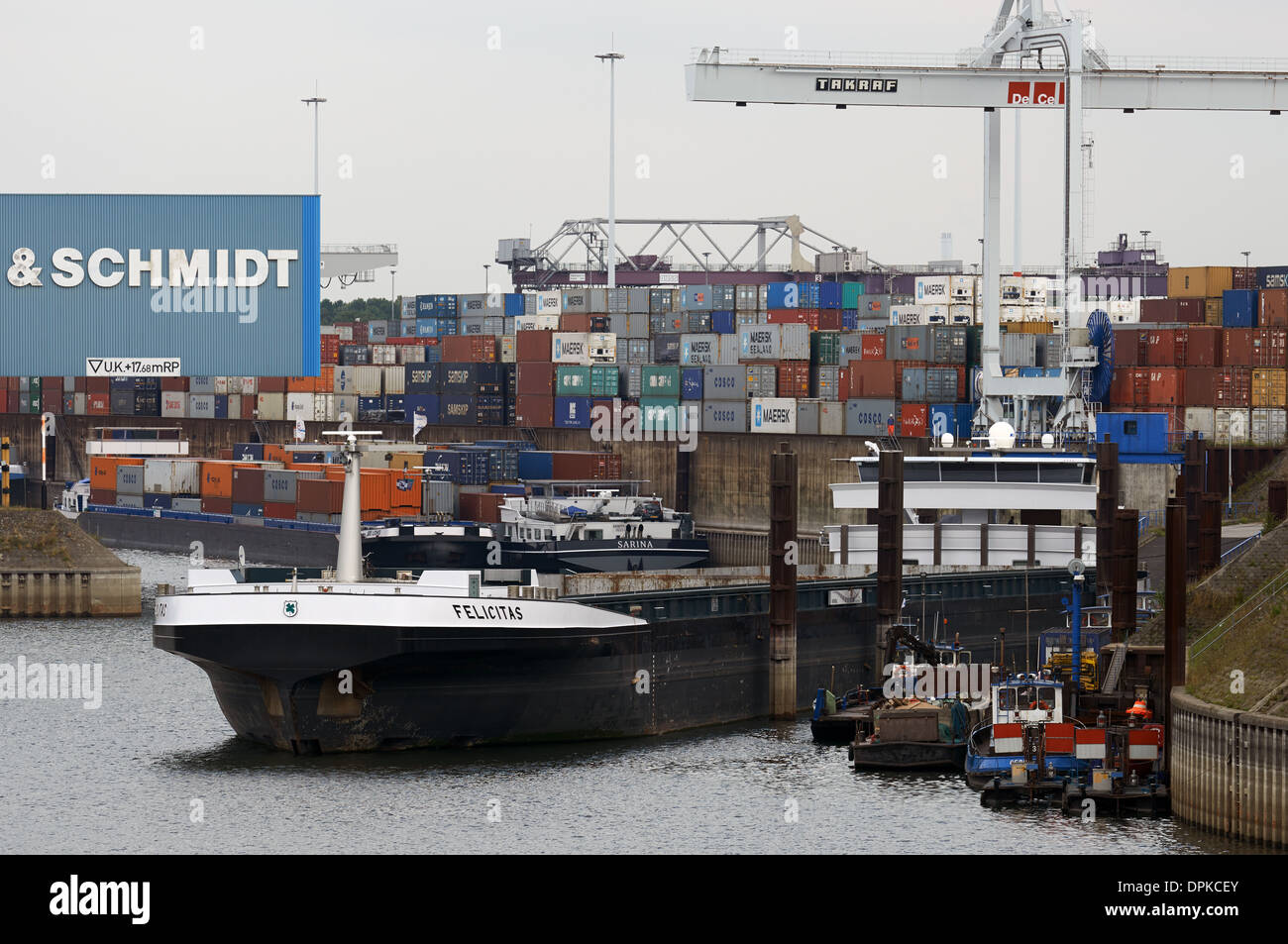 Duisport container terminal, Duisburg, Germany. - Stock Image