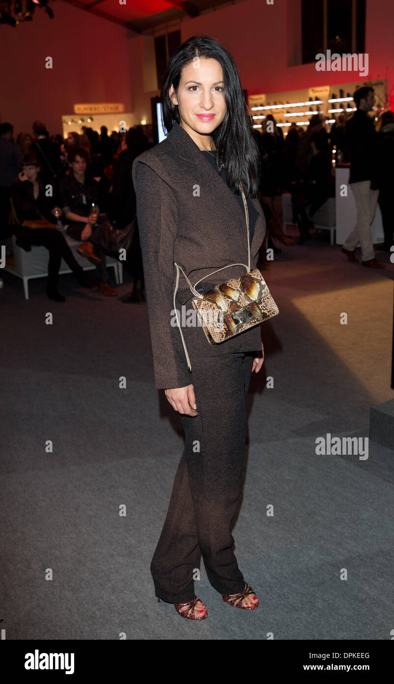 Berlin, Germany. 14th Jan, 2014. Film producer Minu Barati-Fischer arrives at the Kilian Kerner show during the Mercedes-Benz Fashion Week in Berlin, Germany, 14 January 2014 The presentations of the autumn/winter 2014/2015 collections take place from 14 to 17 January 2014. Photo: Joerg Carstensen/dpa/Alamy Live News - Stock Image