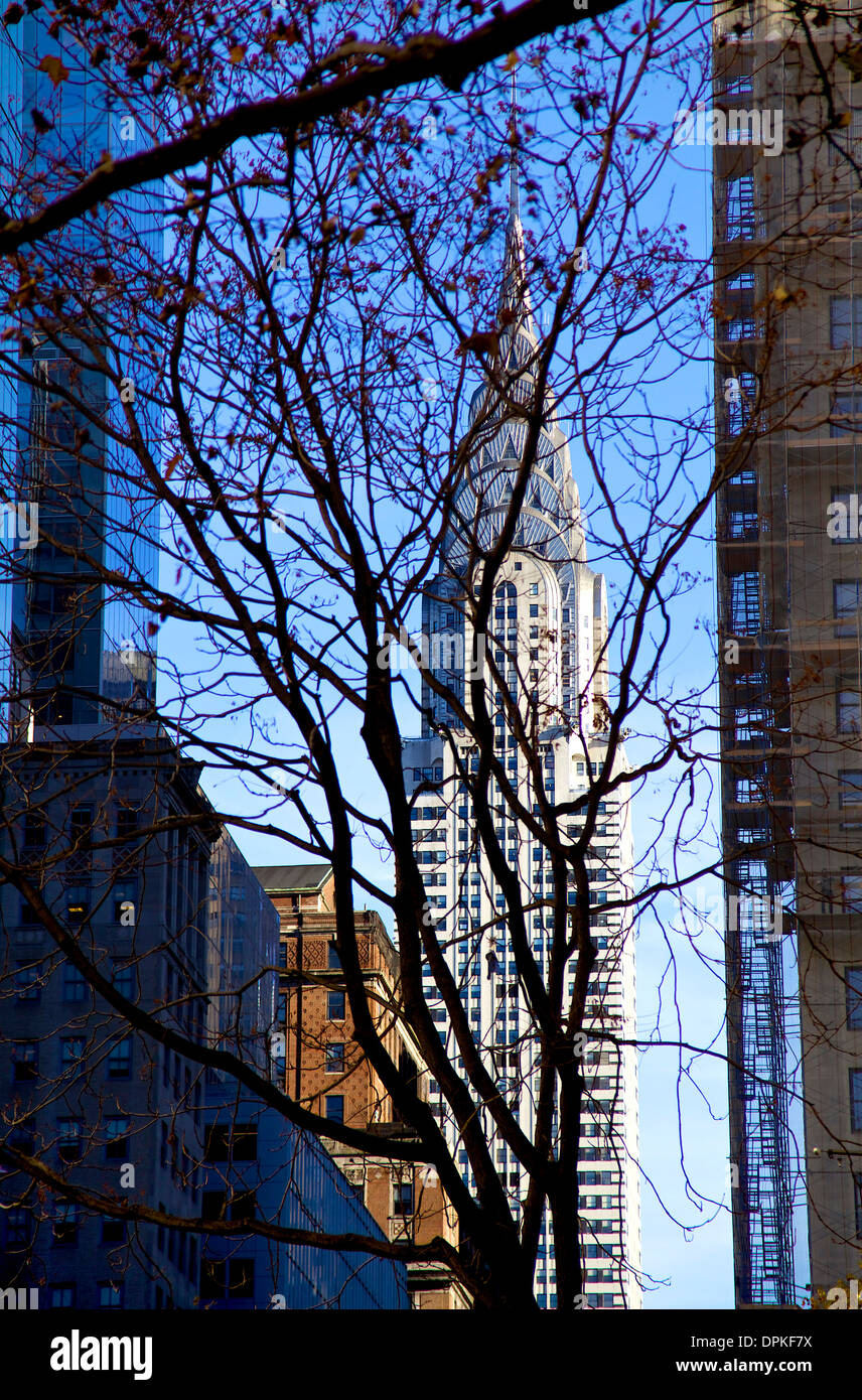 View of Manhattan skyline, New York City, NY, United States of America, USA with Chrysler Building - Stock Image