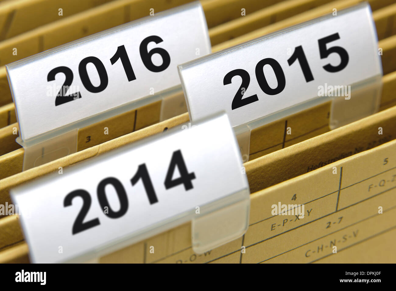 folders marked with years 2014, 2015 and 2016 - Stock Image