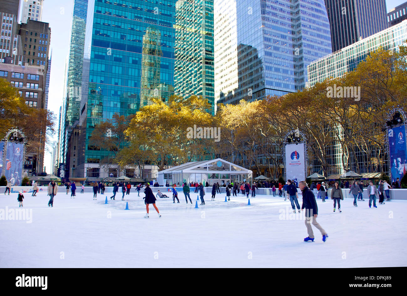 People Skating On Ice At Bryant Park Manhattan New York City Ny United States Of America Usa Leisure Fun Sport Recreation