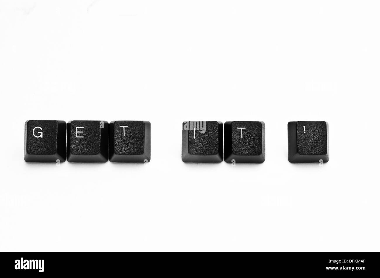 Words created with computer keyboard buttons on white background - Stock Image