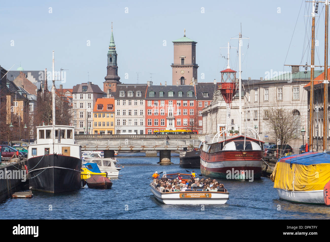 View along Frederiksholms Canal towards the Church of Our Lady, Copenhagen Denmark - Stock Image