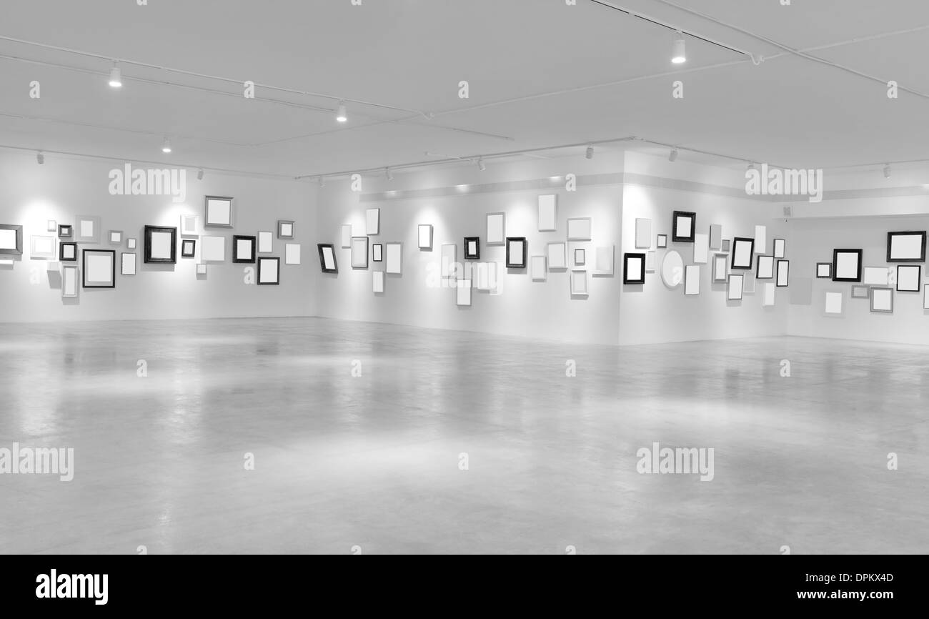 Modern light hall with empty placards on the wall - Stock Image