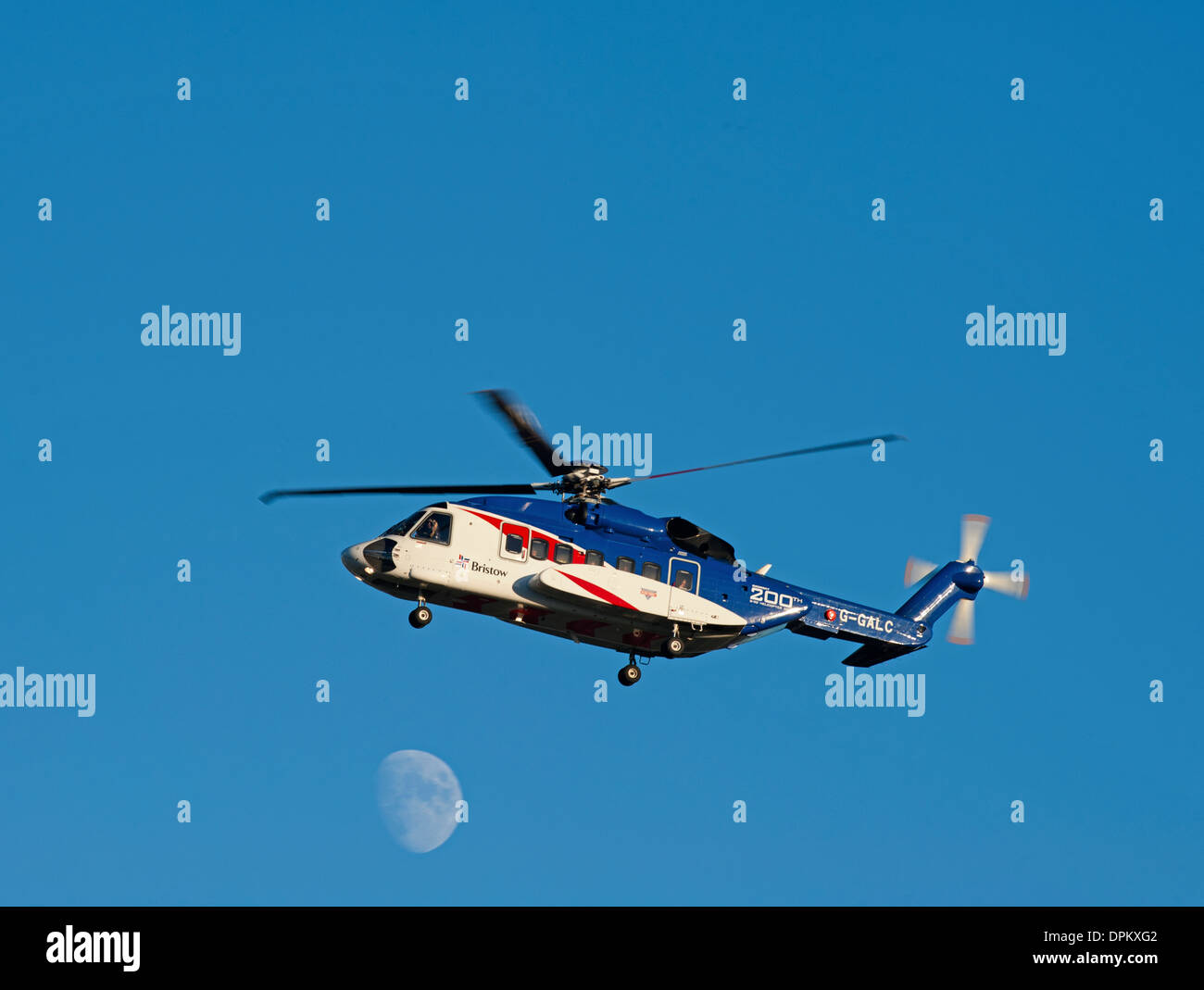 Bristow Helicopter G-GALC Sikorsky S92 approaching Aberdeen Airport. Stock Photo