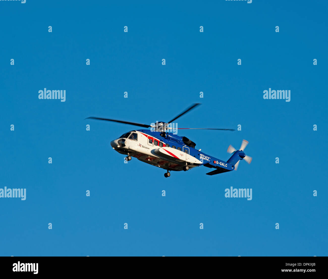 Bristow Helicopter G-GALC Sikorsky S92 approaching Aberdeen Airport.  SCO 9201 - Stock Image