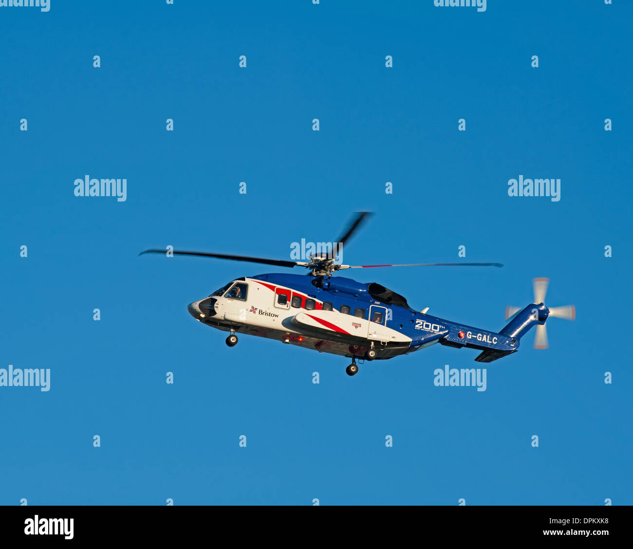 Bristow Helicopter G-GALC Sikorsky S92 approaching Aberdeen Airport. - Stock Image
