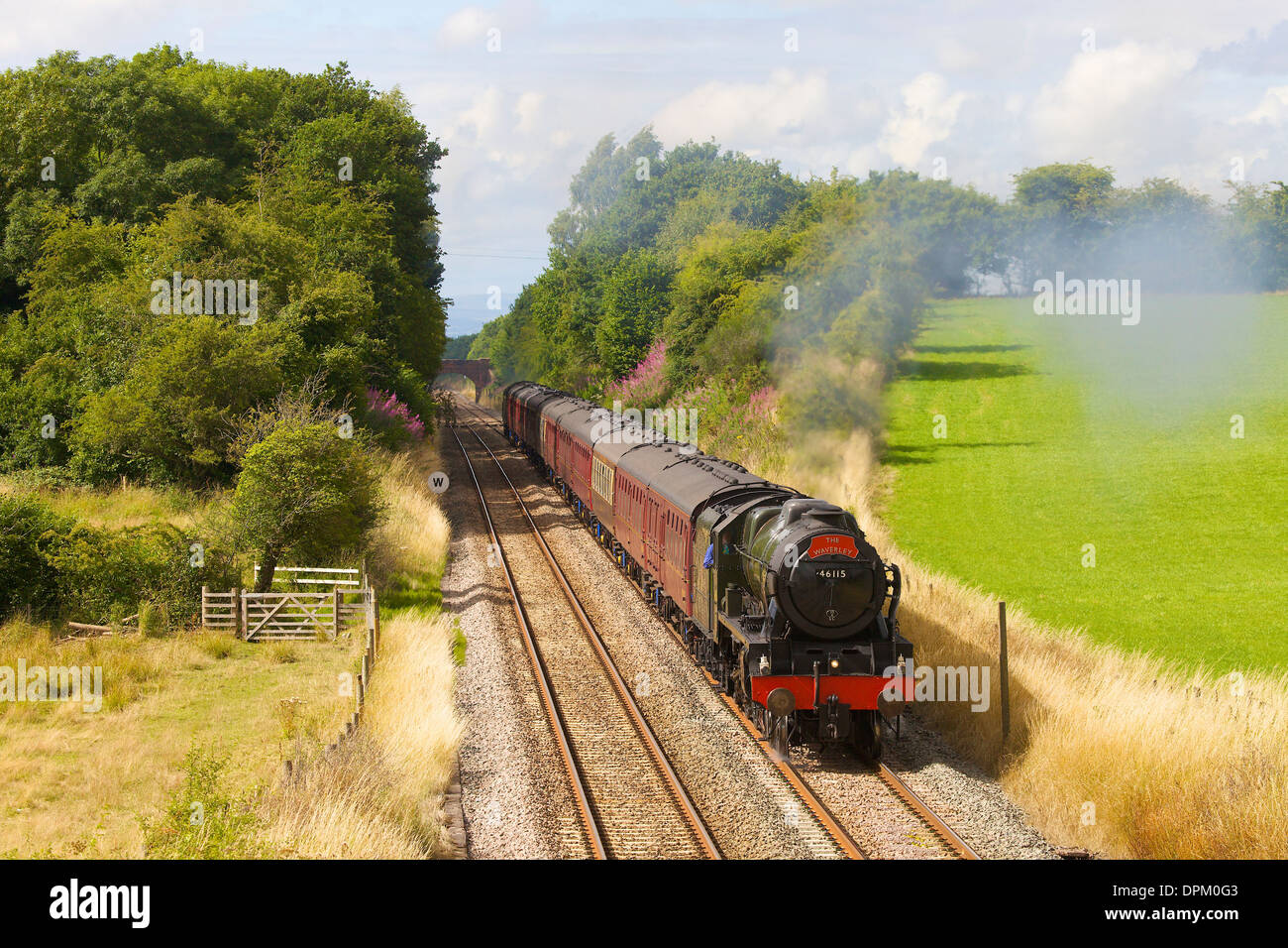 Steam train 46115 Scots Guardsman at Wetheral Sheild on the Settle to Carlisle Railway Line in Cumbria England United Kingdom - Stock Image