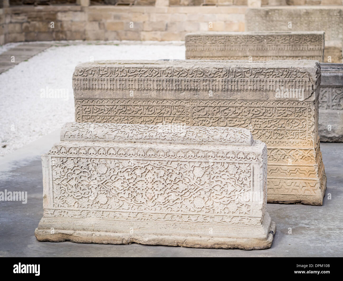 Courtyard with lapidarium in Icheri Sheher (Old Town) of Baku, Azerbaijan. - Stock Image