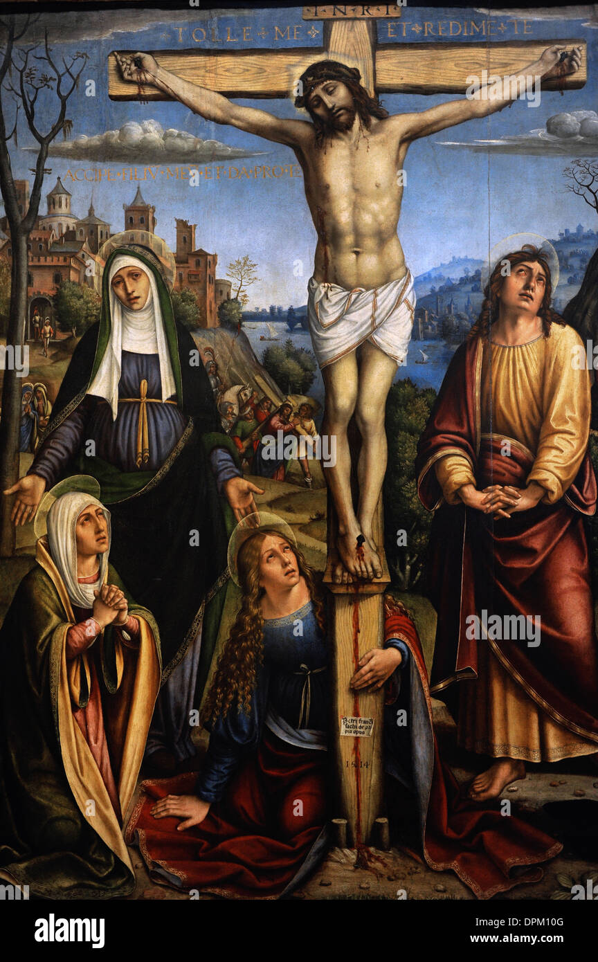 Il Pavese (1485-1528). Italian Renaissance painter. Christ on the cross,  the Three Marys on mourning by John and the Donor.