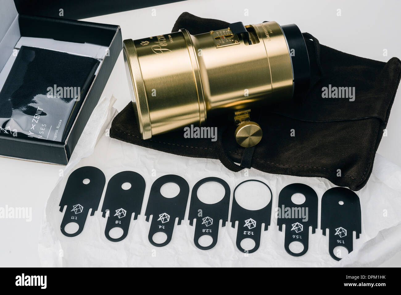 Waterhouse aperture stops, Lomography Petzval lens project - Kickstarter production run funded by orders. Replica of 1840 lens. - Stock Image