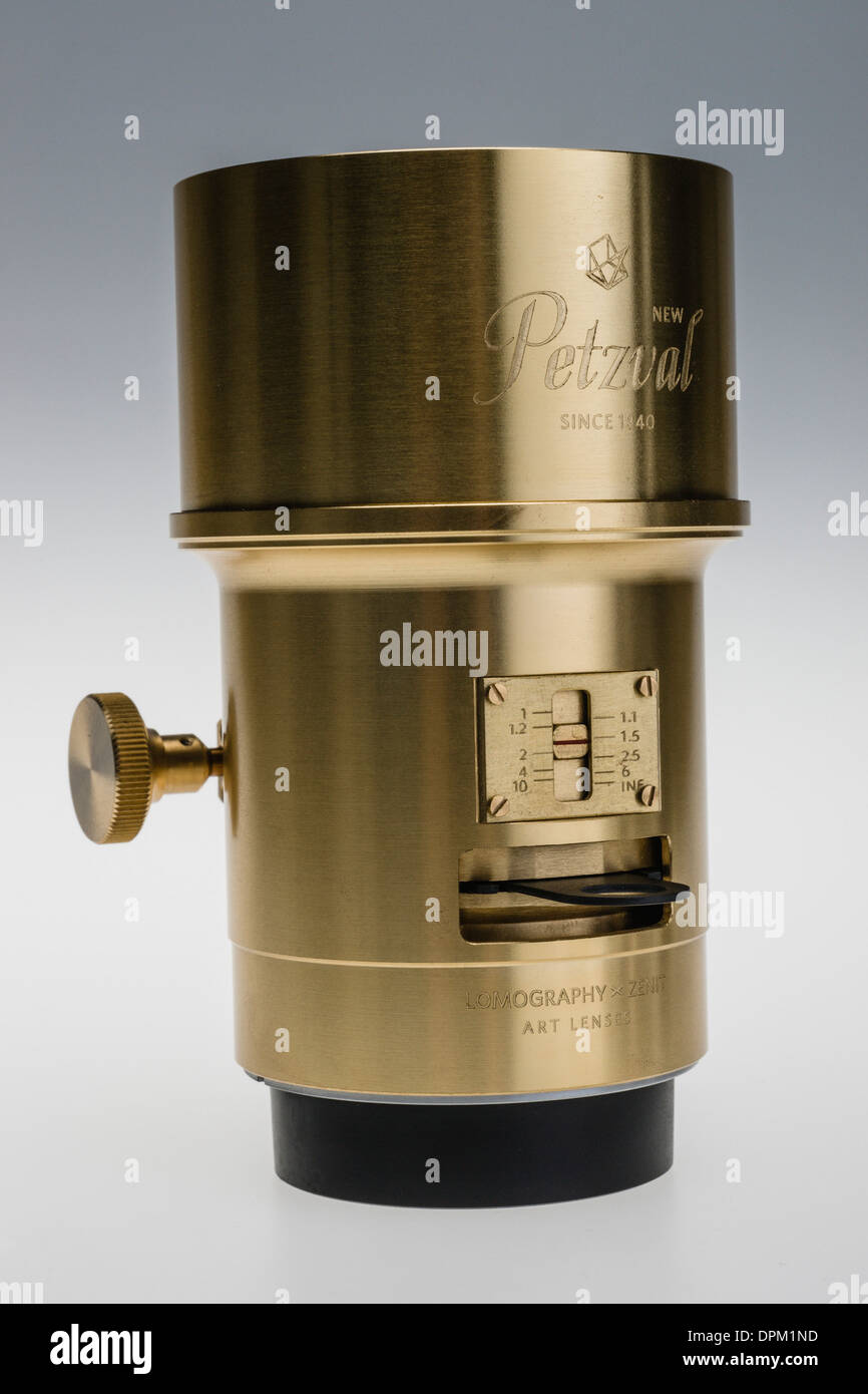 Lomography Petzval lens - Kickstarter internet production run funded by orders. 2014 replica of 1840 lens. - Stock Image