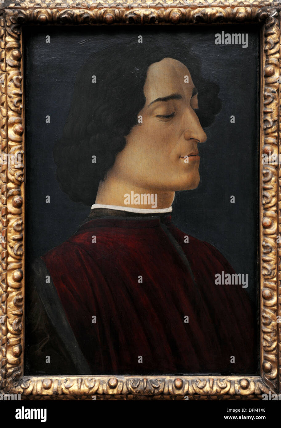 Giuliano de Medici (1453-1478). Co-ruler of Florence. Portrait by Sandro Botticelli (1445-1510), 1478. - Stock Image