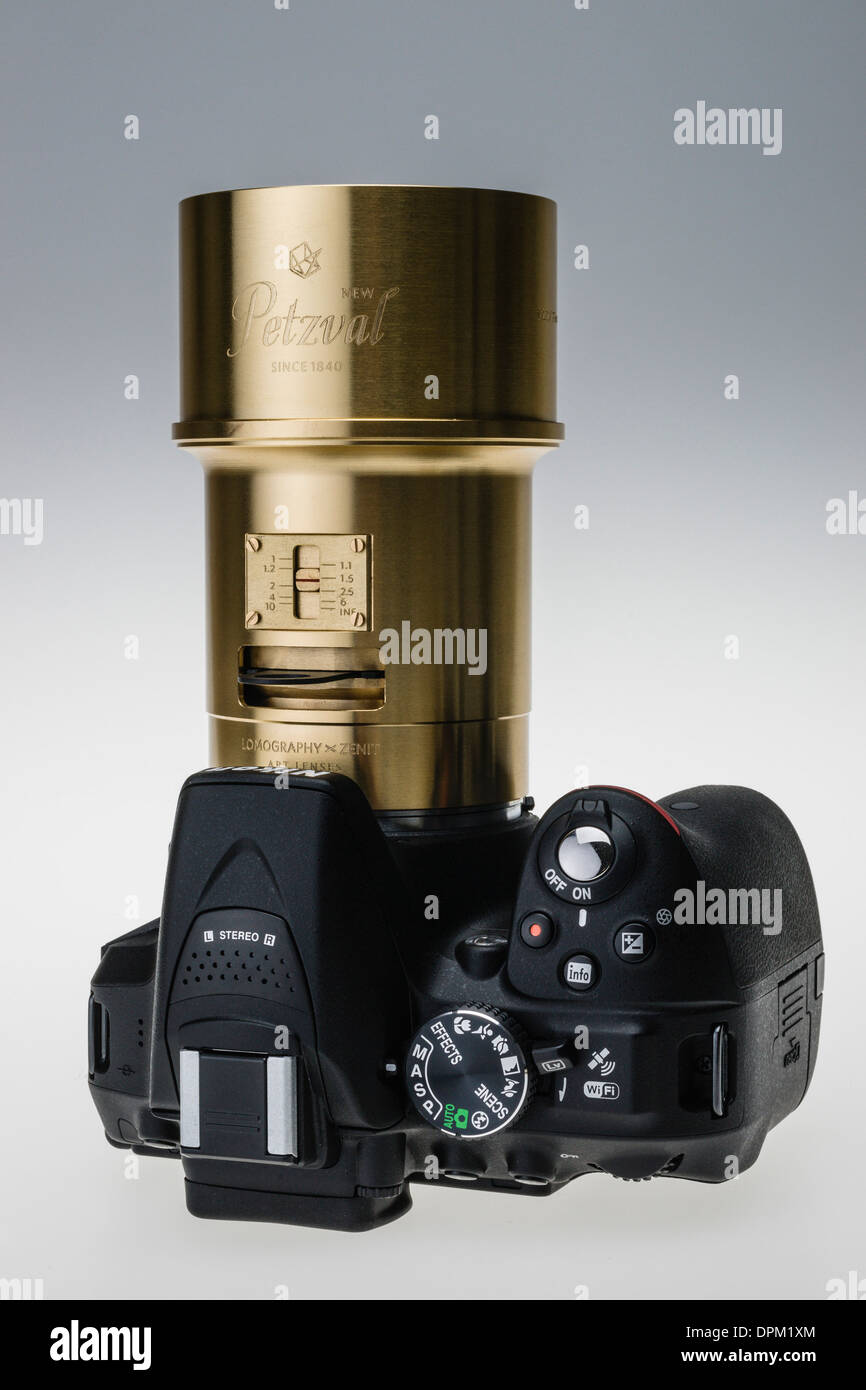 Lomography Petzval lens project - Kickstarter production run funded by orders. Replica of 1840 lens on Nikon D5300 - Stock Image