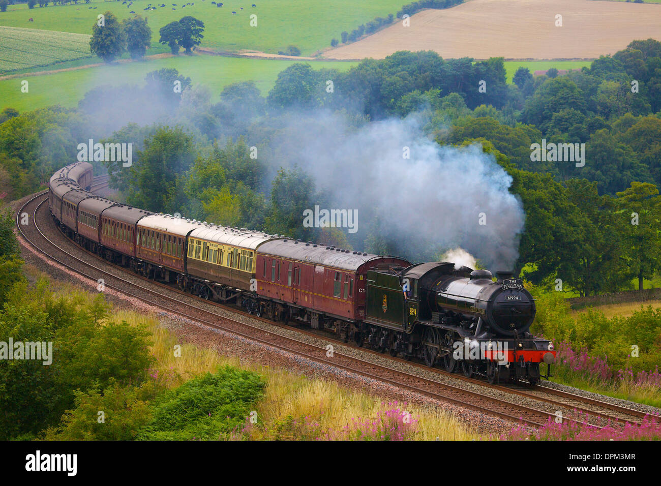 LNER Class K4  2-6-0 'The Great Marquess' steam train near Low Baron Wood Farm Armathwaite, Settle to Carlisle Line, Eden Valley - Stock Image
