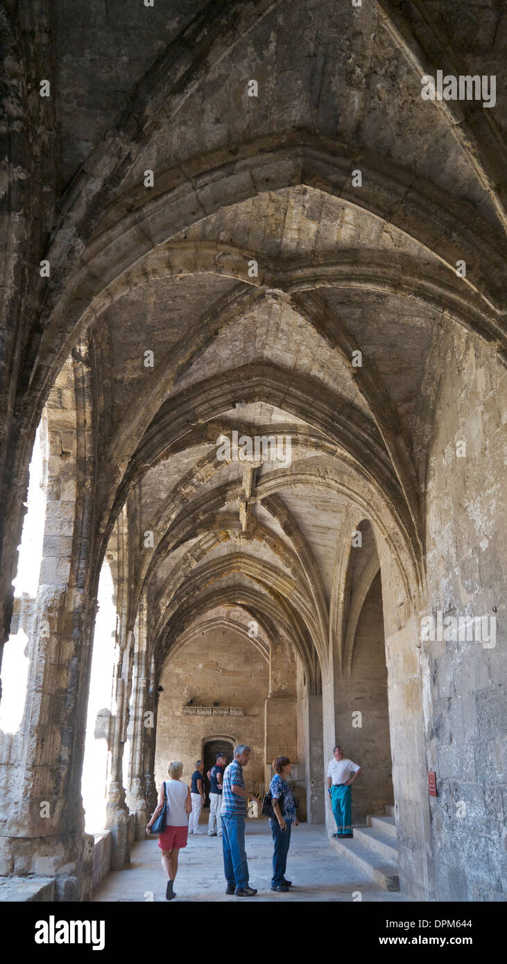 Ancient vaulted ceilings at Narbonne Cathedral,  France. Stock Photo