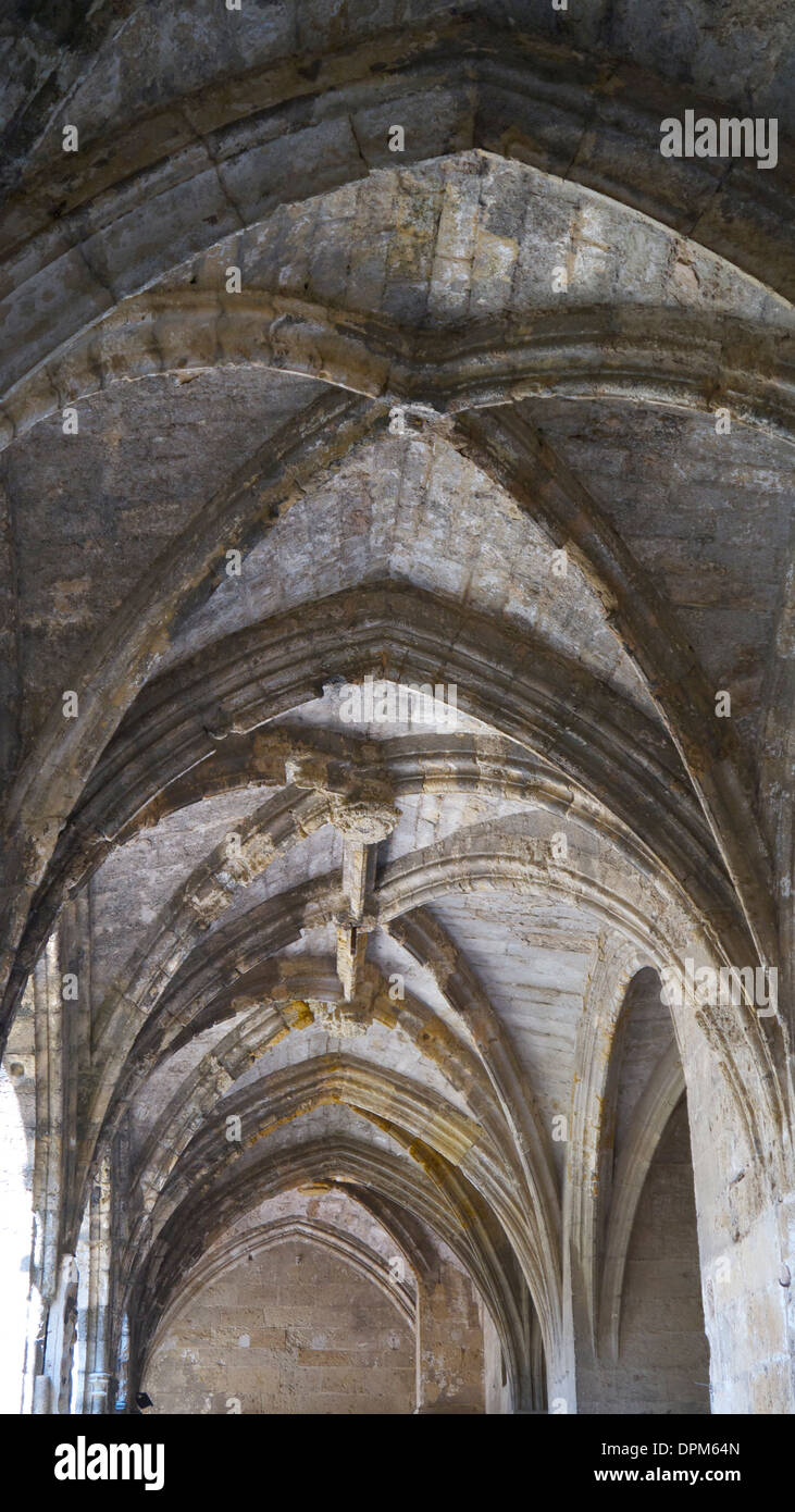 Narbonne Cathedral's vaulted ceilings. Stock Photo