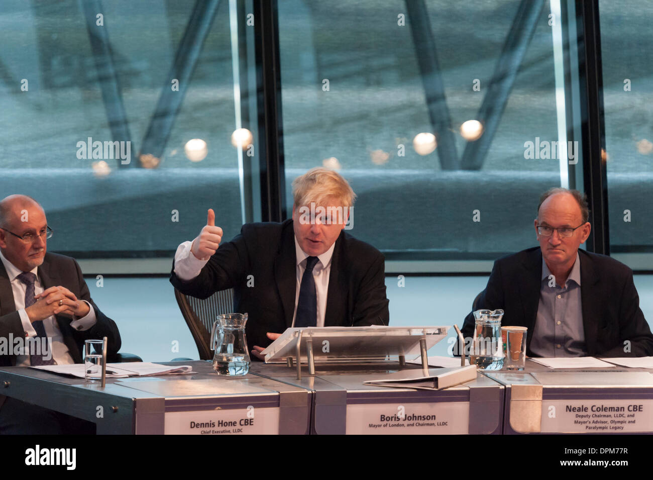 City Hall, London, UK. 15th January, 2014. Boris Johnson, answering questions from the London Assembly on the Olympic South Park legacy quipped 'I'm going down South Park, I'm gonna have myself a time. We took the precaution of killing Kenny'. The Aquatics centre will open on the 1st March. Credit:  Lee Thomas/Alamy Live News - Stock Image