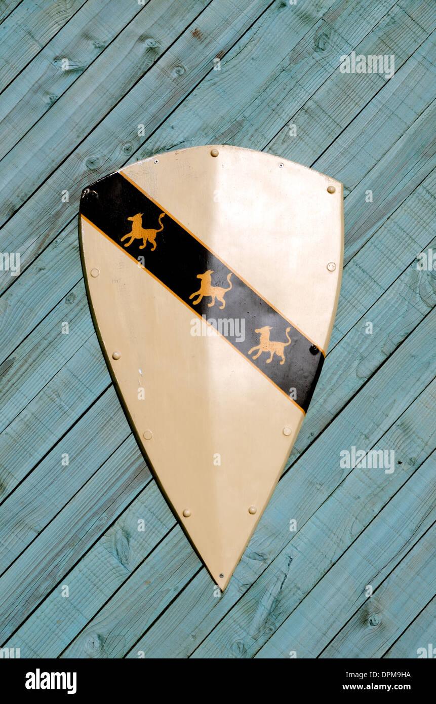 heraldic shield on wooden background - Stock Image