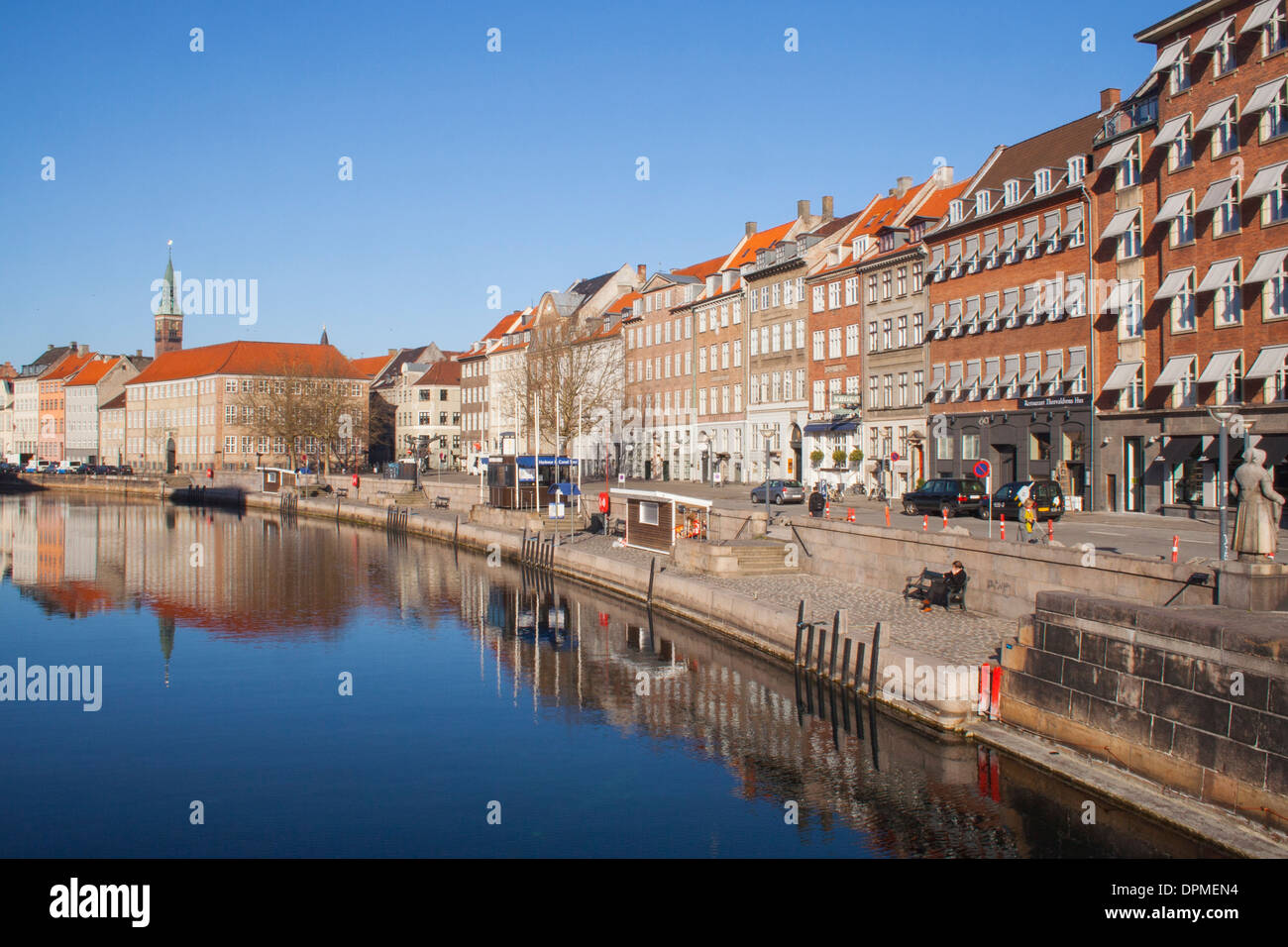 Frederiksholms Canal and City Hall tower in early morning, Copenhagen Denmark - Stock Image