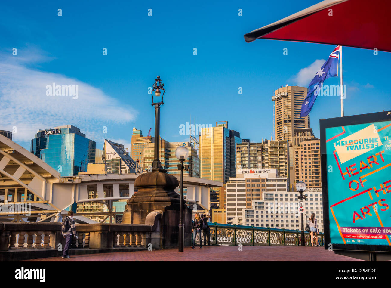 Pyrmont Bridge, is one of the oldest surviving electrically operated Swingspan , Darling Harbour, Sydney, Australia - Stock Image