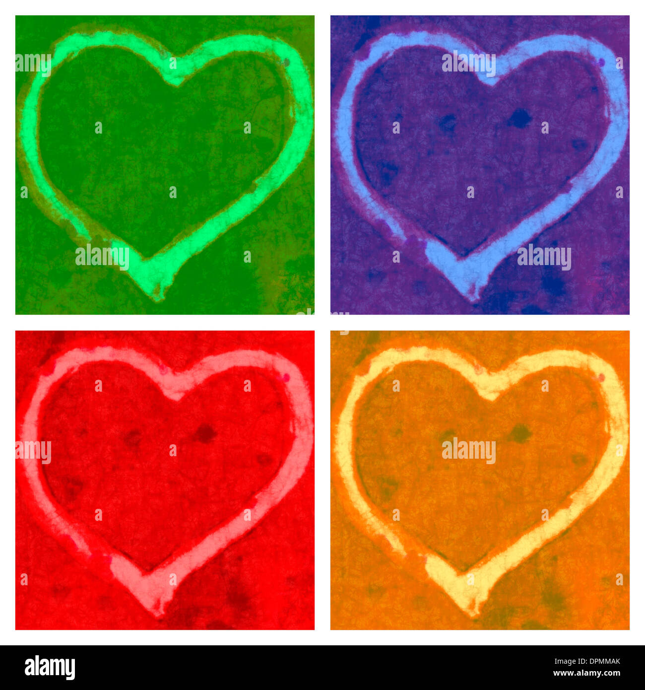 Painting of four hearts in four squares of green,blue,red and yellow with space for copy. Stock Photo