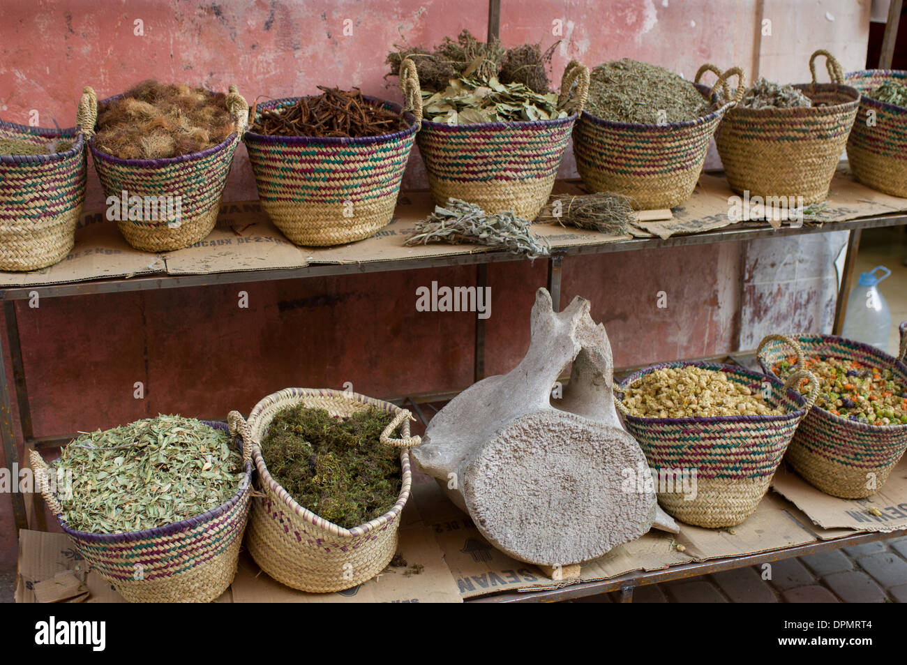 Stall selling herbs, spices and a whale vertebra in the Medina, Marrakech, Morocco - Stock Image