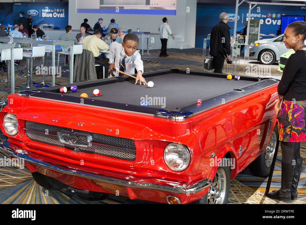 Children Play On A Pool Table Made To Look Like A Ford Mustang Stock - Mustang pool table